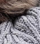 Textured Cuff Hat With Fur Pom