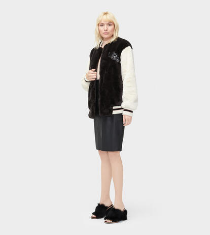 Halie Faux Fur Varsity Jacket