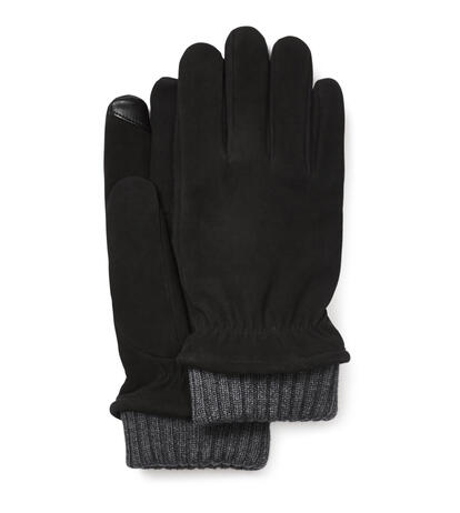 Suede Glove With Knit Cuff