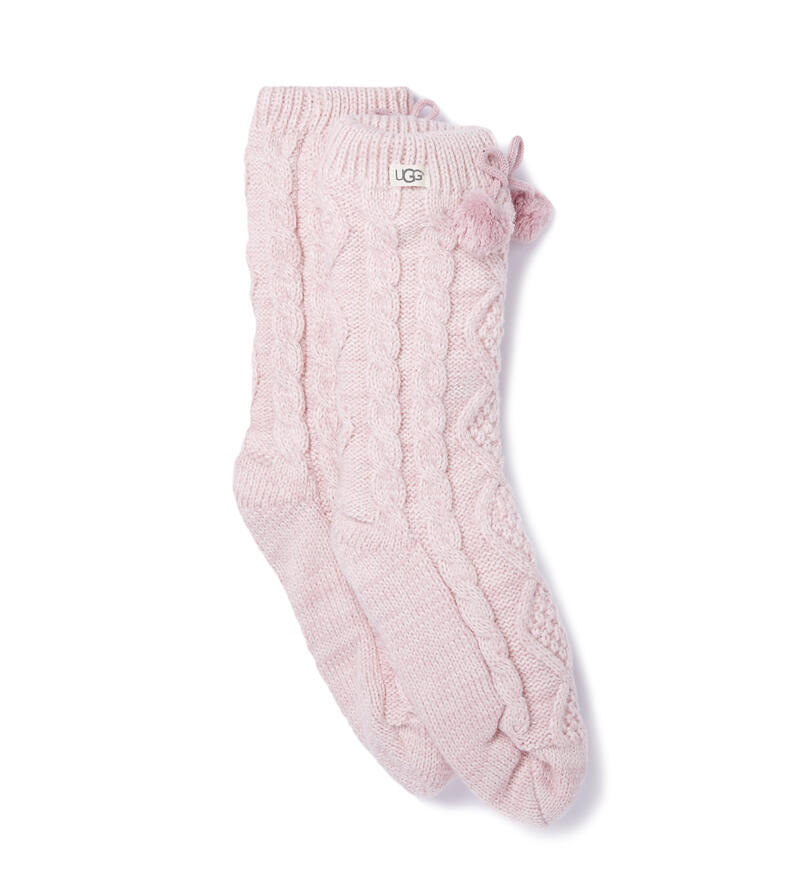 Pom Pom Fleece Lined Crew Socken