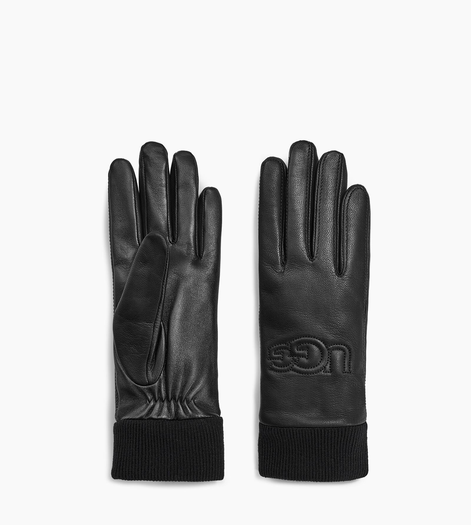 Knit Cuff Leather Logo Glove