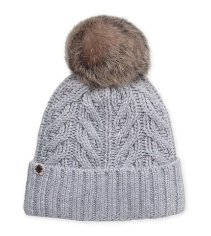 Textured Cuff Hat With Fur Pom