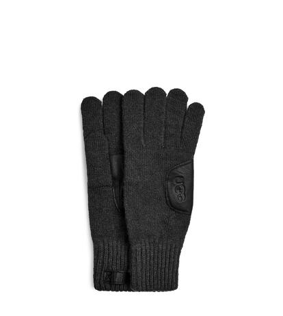 Knit with Leather Patch Guantes