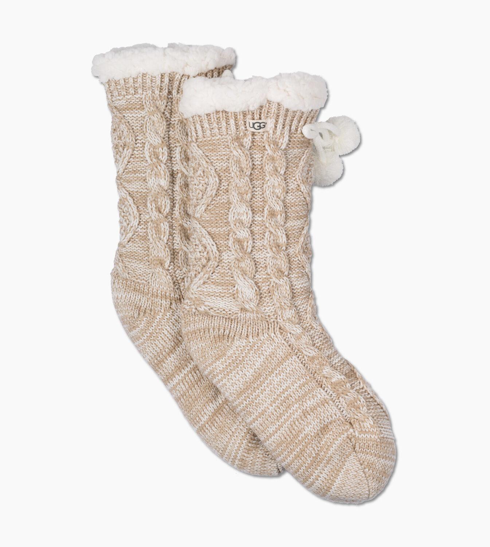 UGG® Pom Pom Fleece Lined Crew Sock for