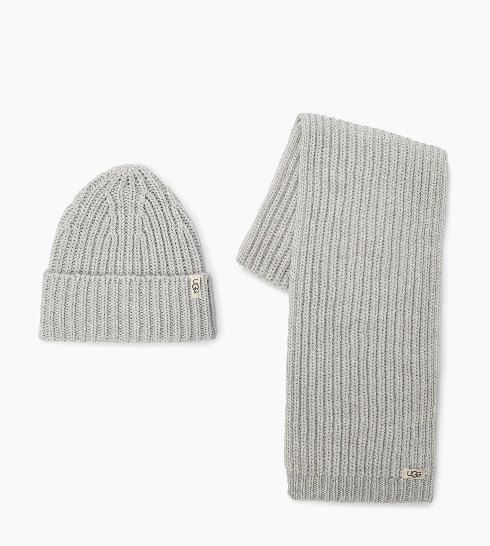 Rib Knit Hat and Scarf Set