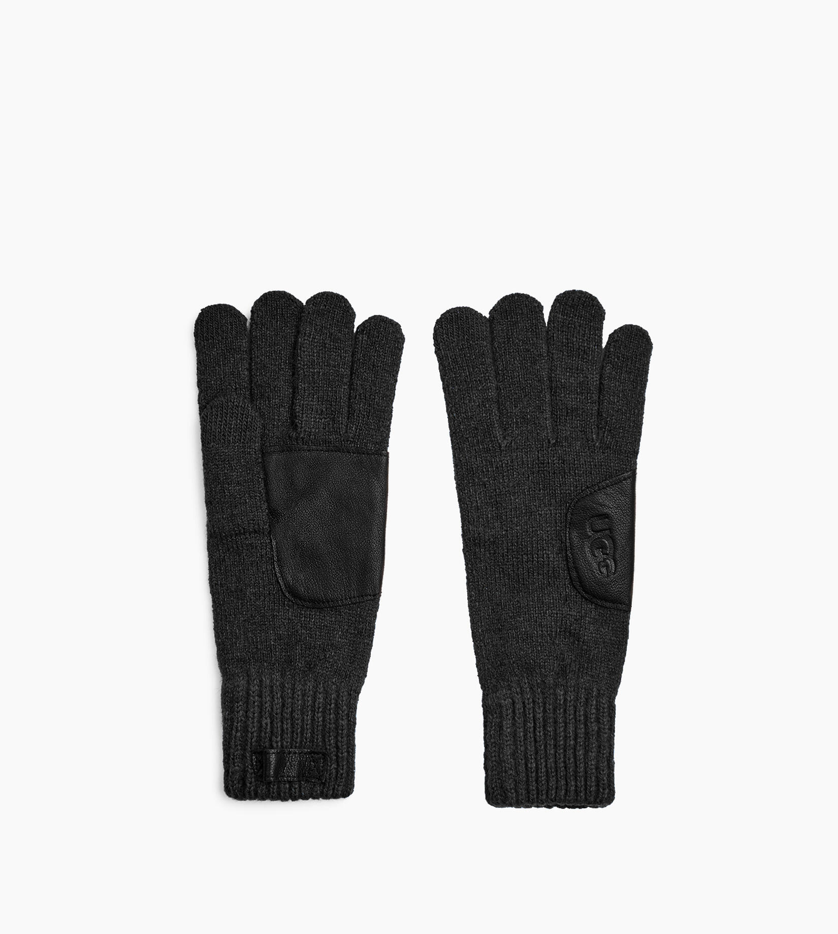 Knit Glove with Logo Leather Patch
