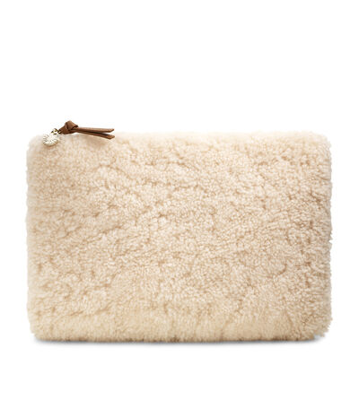 Large Zip Pouch Sheepskin Clutch