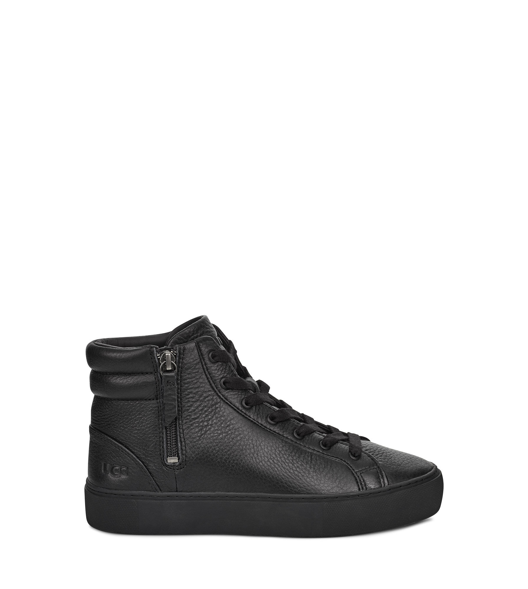 Olli Leather Hi Top Trainers Black