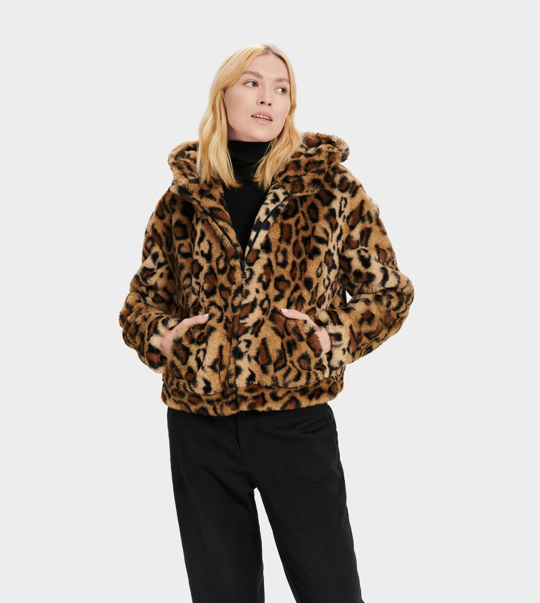 Womens Leopard Fluffy Fur Coat Fleece Jacket Ladies Jumper Hoodie Outerwear