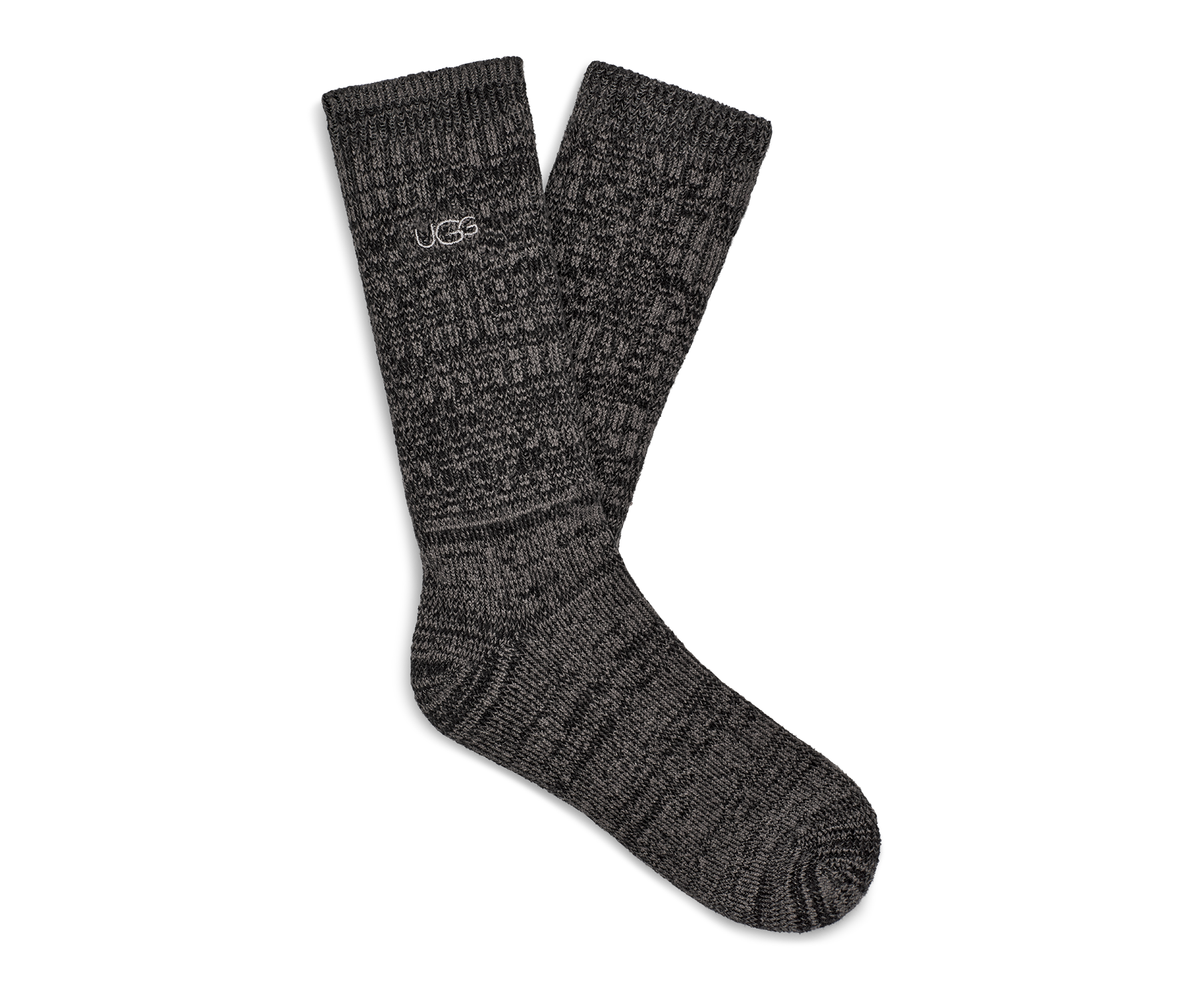 UGG Men's Trey Rib Knit Slouchy Crew Polyester Socks in Black Made from a soft rib knit, this cozy crew sock is designed for a slouchier fit, offering premium relaxation that's perfect around the house. 99% Polyester/1% Elastane. UGG Men's Trey Rib Knit Slouchy Crew Polyester Socks in Black