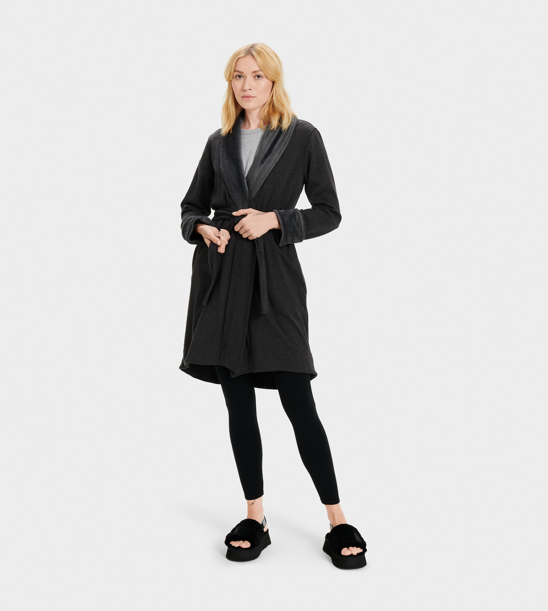 UGG Women's Blanche II Fleece Sleepwear in Black Bear Heather, Size S A shorter-length version of our best-selling Duffield robe, the Blanche is crafted with soft fleece, so it feels like wrapping yourself in a blanket. Pair with our fluffy slippers and pretend it's the weekend. Lightweight double knit fleece: 92% Cotton, 8% Elastane, 100% Polyester pile. Self belt. On-seam side pockets. 39.5 inch center back length. UGG Women's Blanche II Fleece Sleepwear in Black Bear Heather, Size S