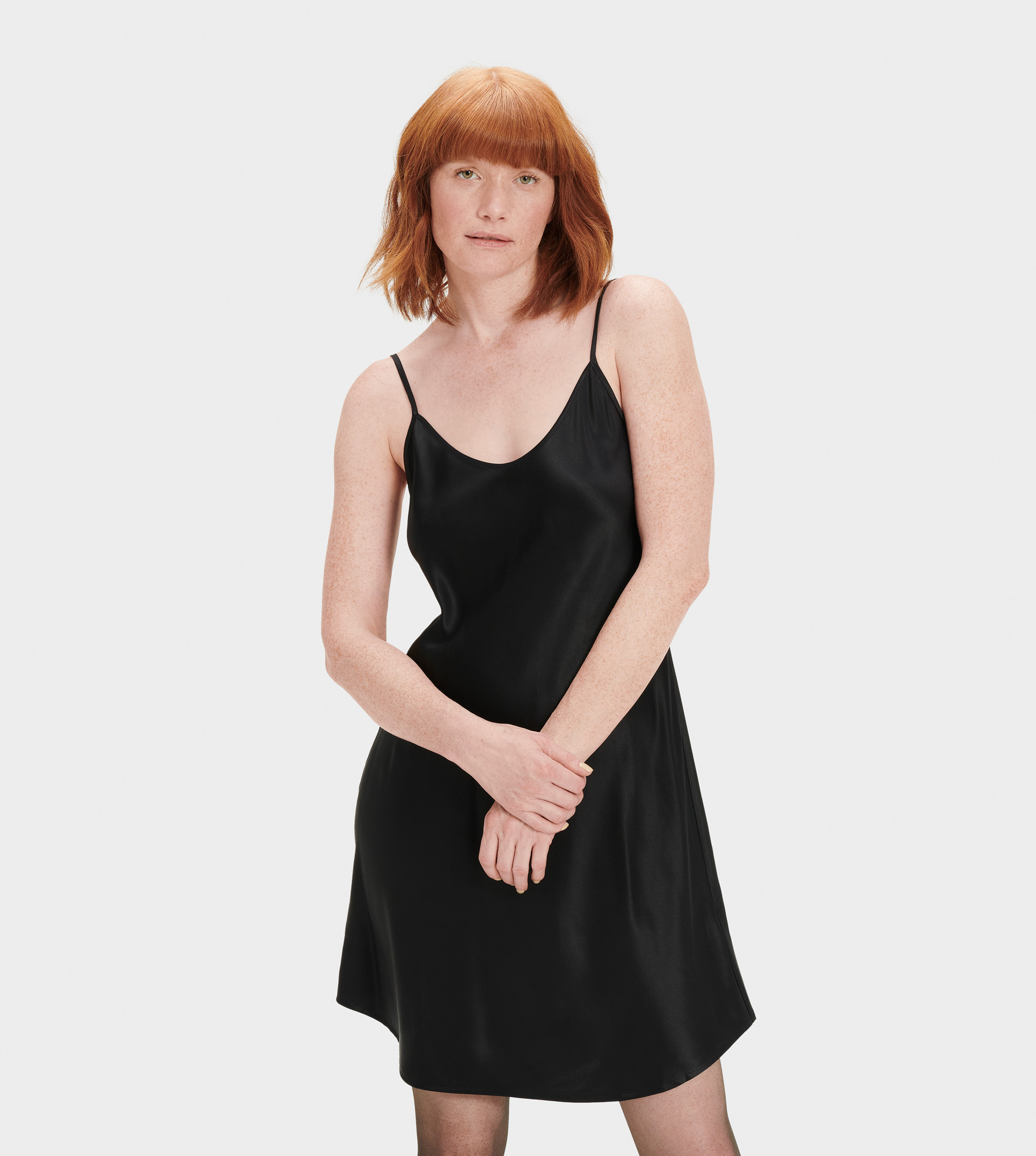 UGG Women's Theda Slip Dress Silk Dresses in Black, Size M Made from 100% silk, this soft slip dress features adjustable slider straps for the perfect fit. Ideal for wearing out, you'll love the way the smooth silk feels on your skin. 100% Silk Slip Dress. Adjustable straps with sliders. Center back 25 1/4  [Size S]. Dry Clean Only. UGG Women's Theda Slip Dress Silk Dresses in Black, Size M