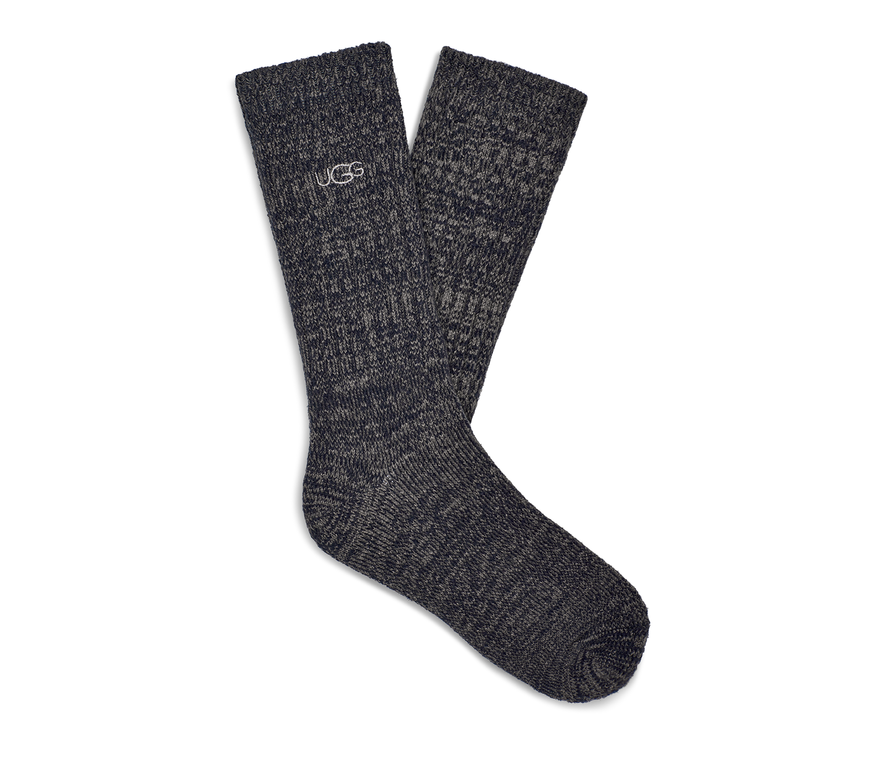 UGG Men's Trey Rib Knit Slouchy Crew Polyester Socks in Blue Made from a soft rib knit, this cozy crew sock is designed for a slouchier fit, offering premium relaxation that's perfect around the house. 99% Polyester/1% Elastane. UGG Men's Trey Rib Knit Slouchy Crew Polyester Socks in Blue