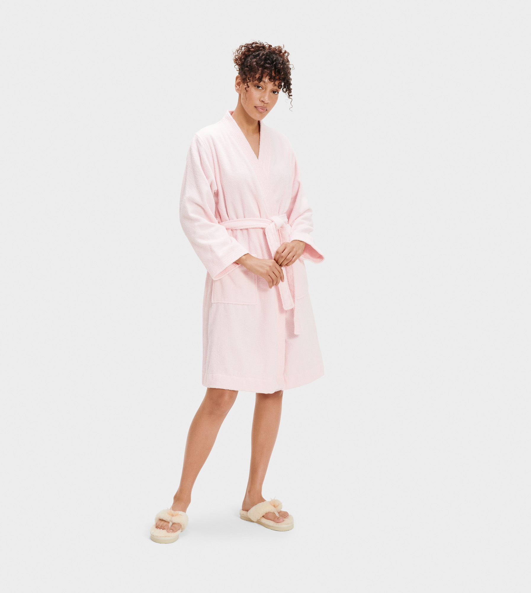 UGG Women's Lorie Terry Robe Cotton Blend Sleepwear in Pink, Size XL/2XL Made from a soft cotton terry knit, this cozy robe is perfect for relaxed weekend mornings. Best paired with fluffy slippers and an espresso. Double loop terry: 100% Cotton. Self-tie. Patch pockets. 39 inch center back length. UGG Women's Lorie Terry Robe Cotton Blend Sleepwear in Pink, Size XL/2XL