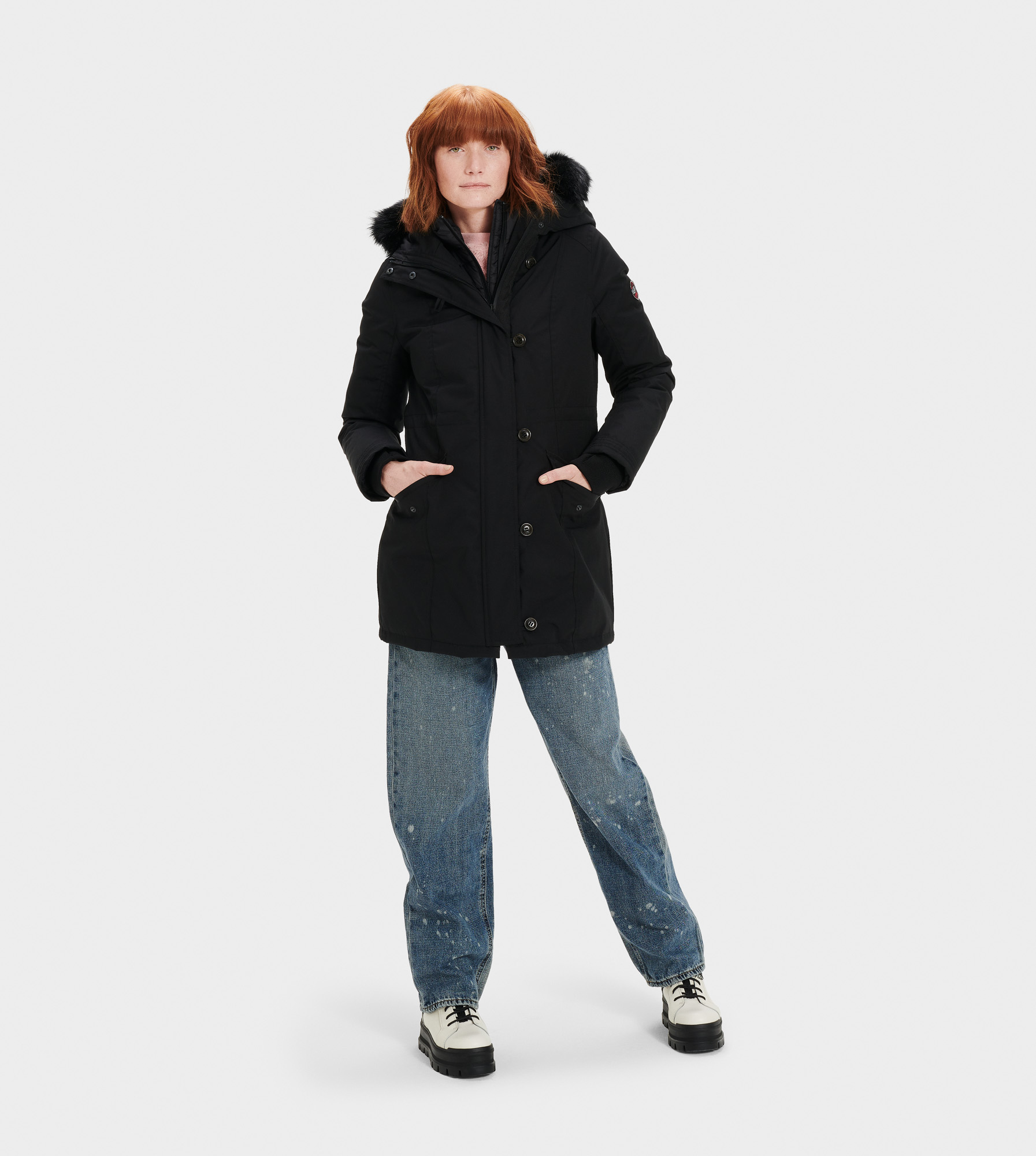 UGG Women's Adirondack Parka Sheepskin in Black, Size S Our most serious cold-weather coat, the Adirondack parka is made for temperatures as low as -31.4C (-24.52 F). Incorporating waterproof material and warming down, it also features a detachable vest that can be worn with the jacket, or by itself. With silky Toscana sheepskin trim and a cinched waist, you can stay stylish in any weather. Down-filled, waterproof tech parka with detachable nylon down vest. Waterproof Woven Shell: 85% Polyester, 15% Cotton. AATCC127 Waterproof tested. Temperature rated at -31.4° Celsius. Fleece pocket linings. Removable Toscana fur hood trim. Internal cell phone pocket. 32  center back length. Removable down vest liner: 24  center back length. Dry clean only. UGG Women's Adirondack Parka Sheepskin in Black, Size S