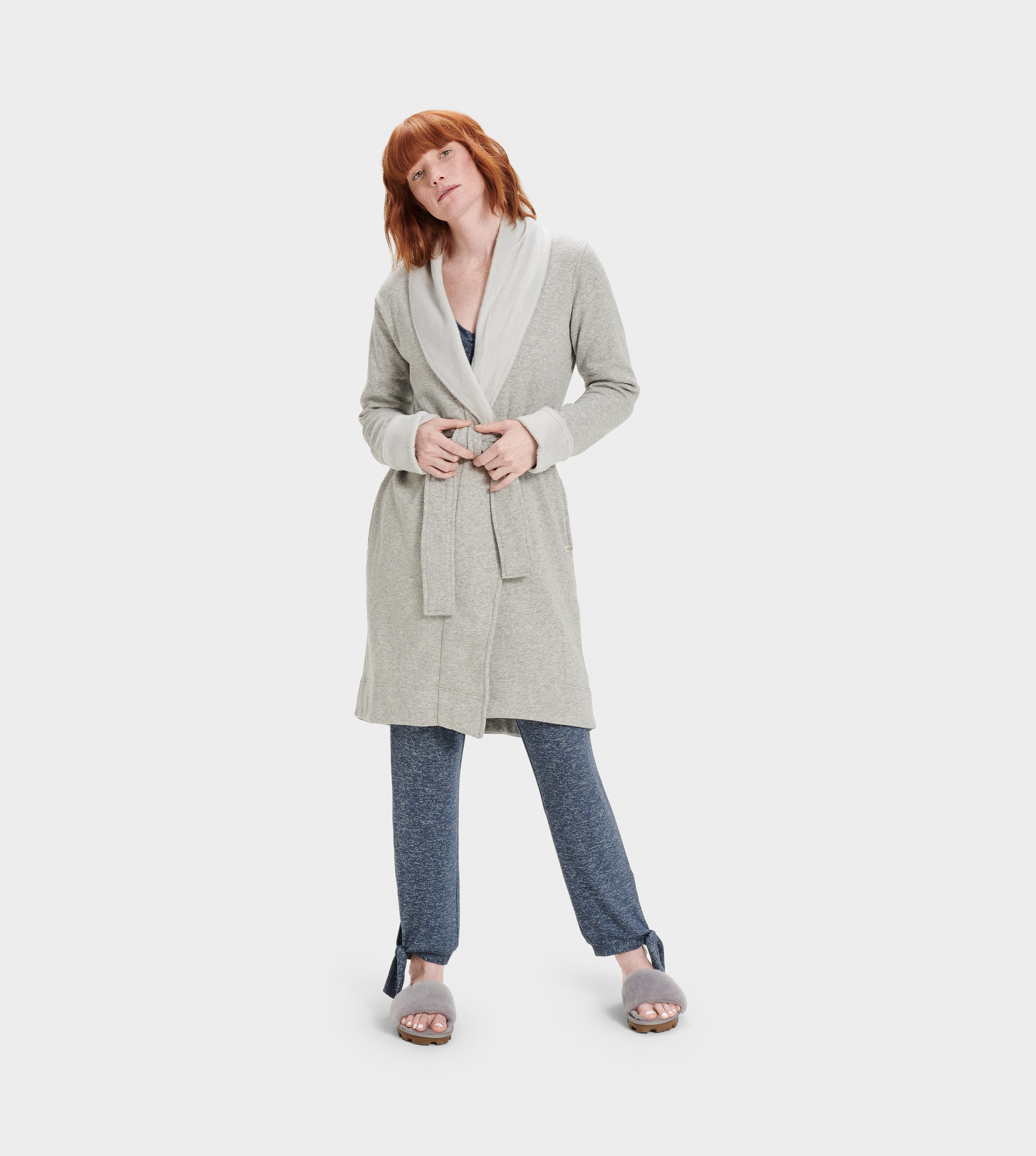UGG Women's Blanche II Fleece Sleepwear in Grey, Size L A shorter-length version of our best-selling Duffield robe, the Blanche is crafted with soft fleece, so it feels like wrapping yourself in a blanket. Pair with our fluffy slippers and pretend it's the weekend. Lightweight double knit fleece: 92% Cotton, 8% Elastane, 100% Polyester pile. Self belt. On-seam side pockets. 39.5  center back length. UGG Women's Blanche II Fleece Sleepwear in Grey, Size L