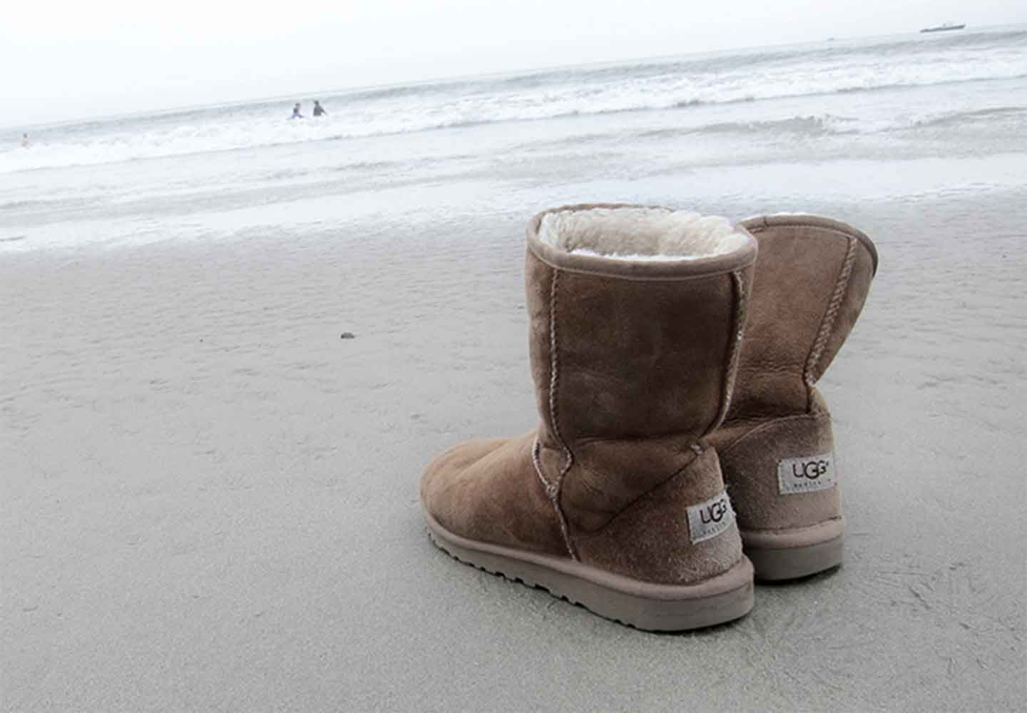 Ugg classic boots on a beach