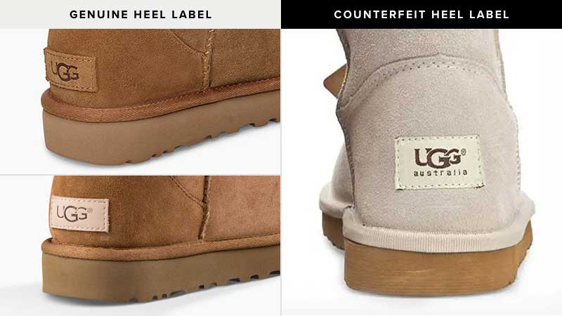 Note heel label font is enlarged and styling of letters in incorrect. Binding attaching upper & outsole is of poor quality material and stitched in a sloppy manner.