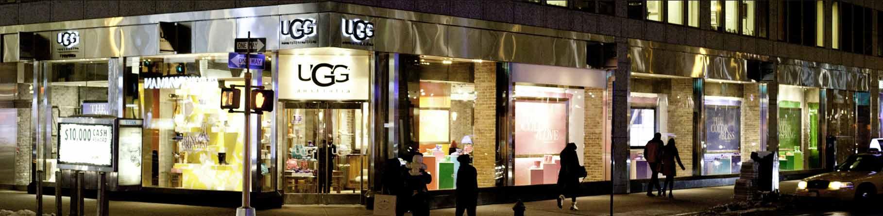 Ugg retail store on busy street corner
