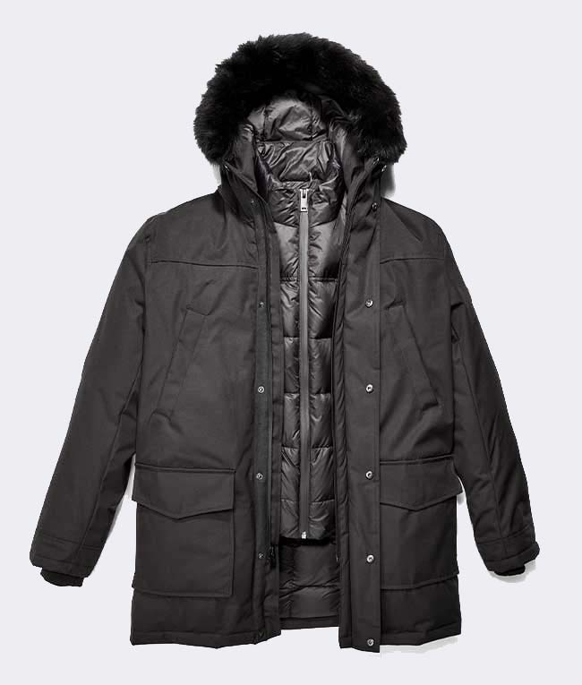 Adirondak Parka with lines pointing out key features.