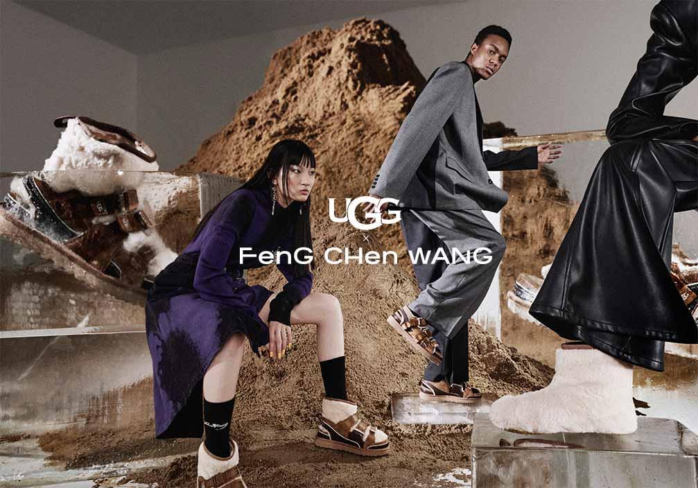 Man and woman wearing UGG x Feng Chen Wang shoes.