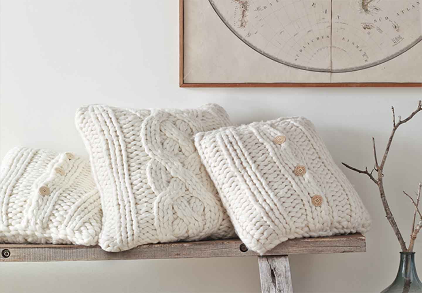 Ugg chunky knit throw pillows