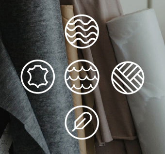 Lifecycle icons on background of bulk fabric materials.