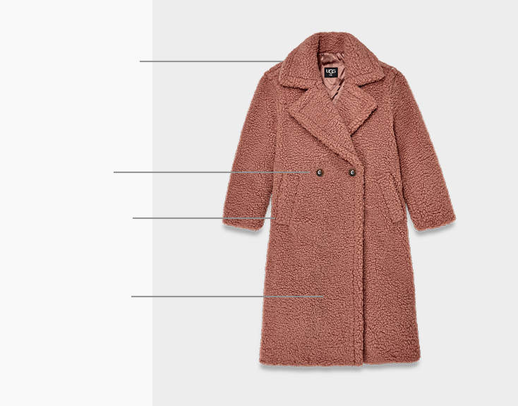 Picture of the Gertrude Coat with descriptions of product highlights.