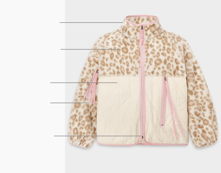 Marlene jacket with lines pointing out key features.