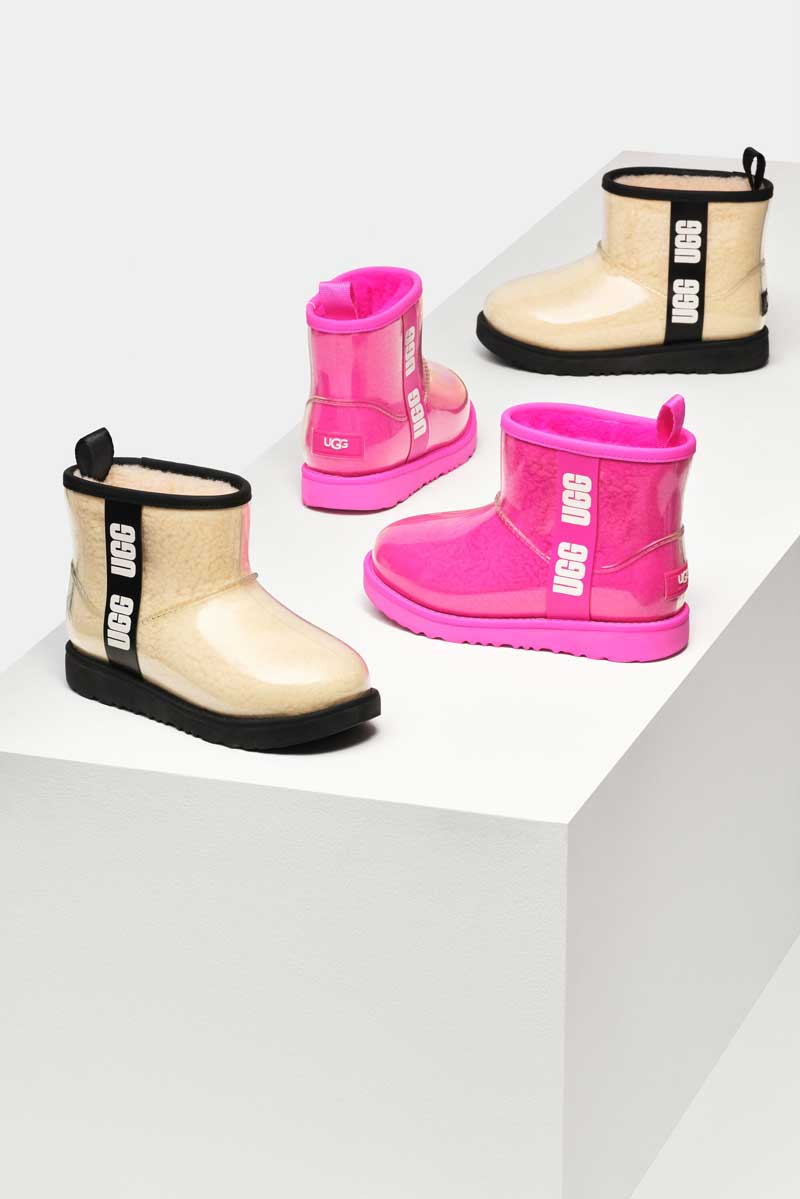 Classic Clear Boots in white and pink.