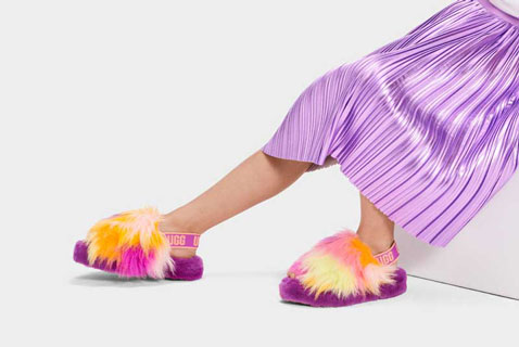 Close-up of UGG kids slippers.