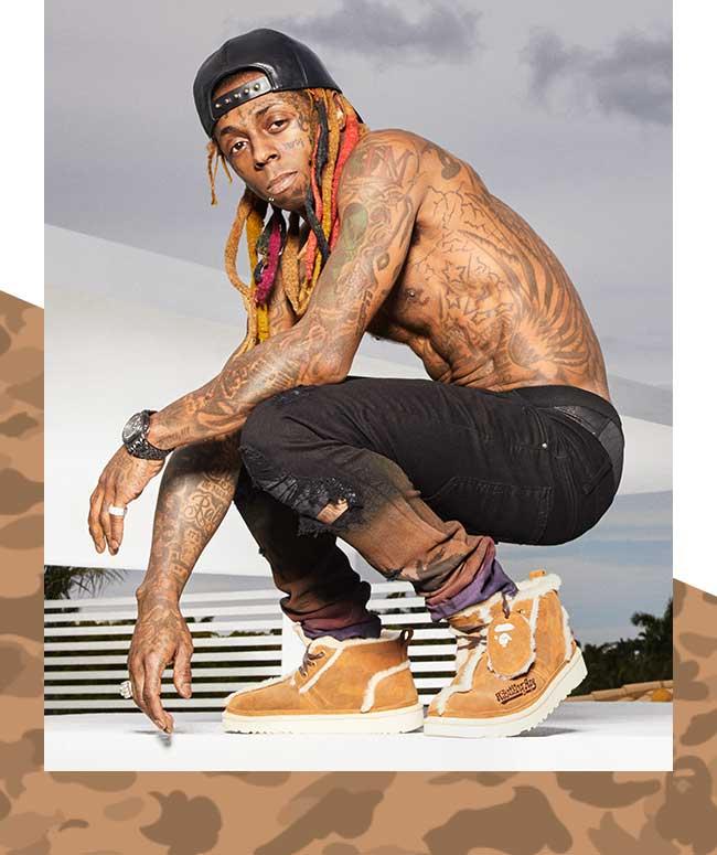 Lil Wayne crouched wearing Bapes