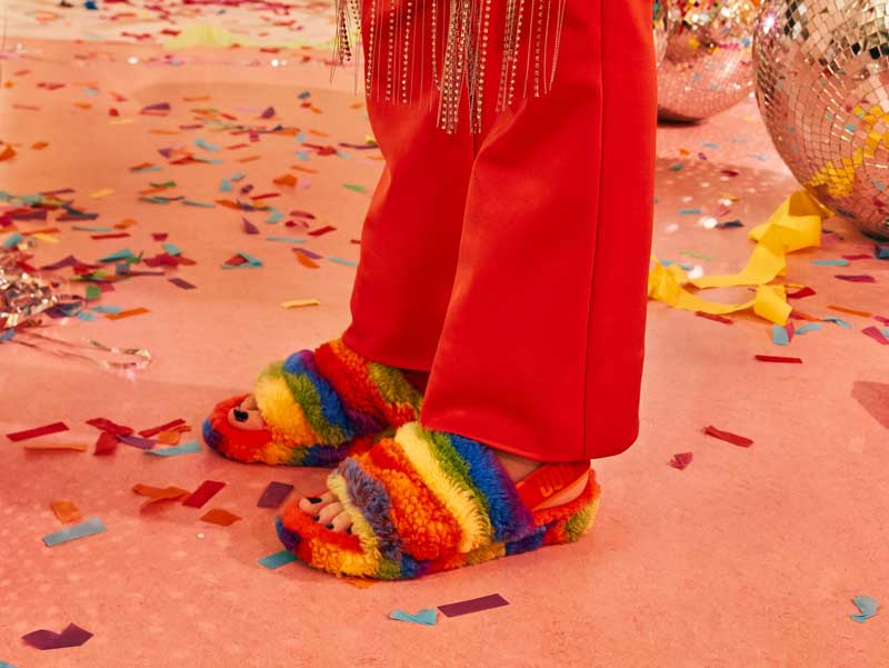 Pride Fluff You slippers.