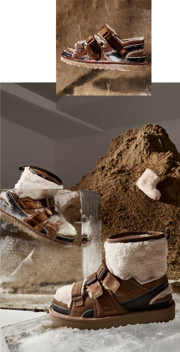 Mound of dirt and ice with UGG boots by Feng Chen Wang.
