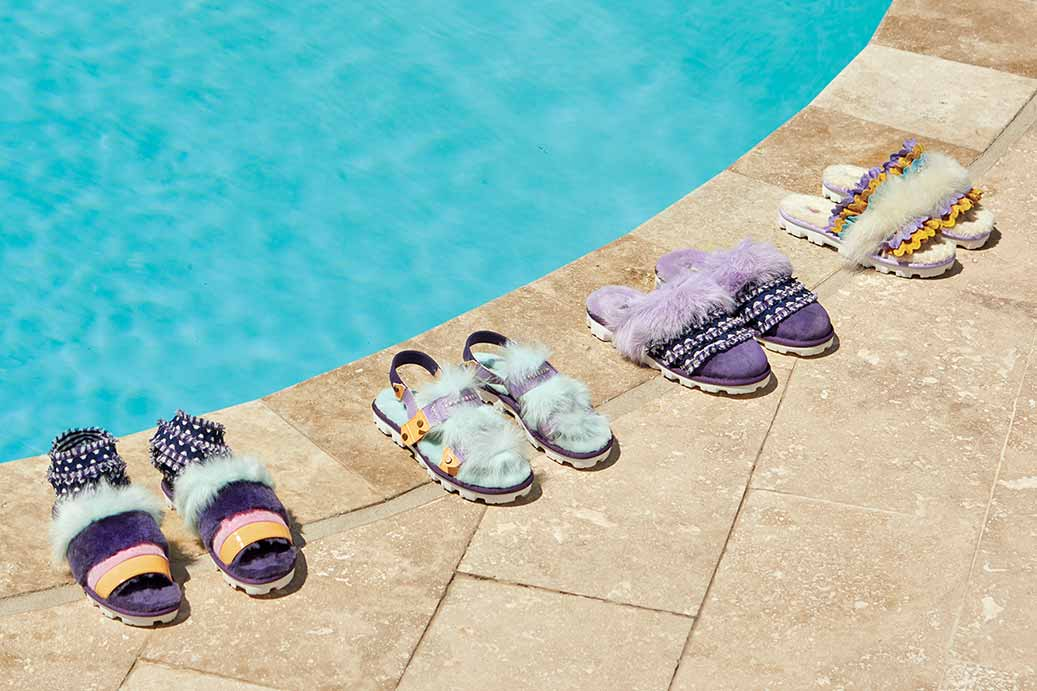 Desert Dream Fashion Baby Collection sandals in a line along a pool.