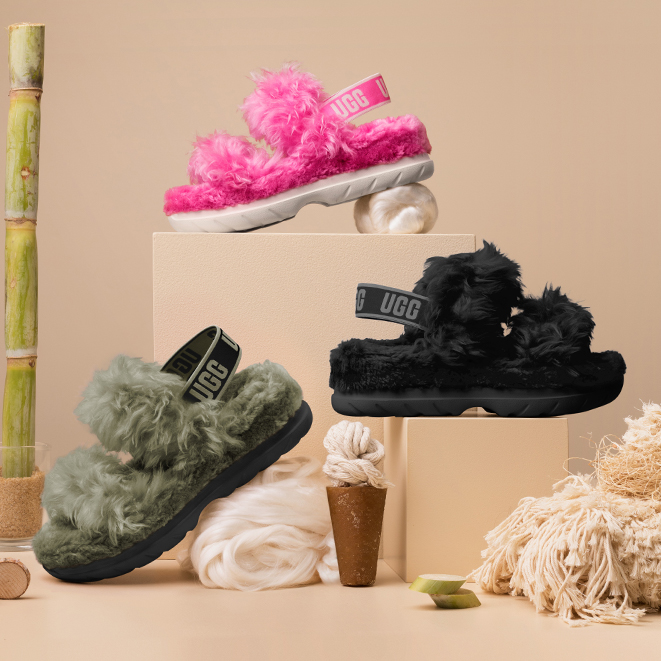 Three colours of Fluff Sugar sandals - olive, black and pink.