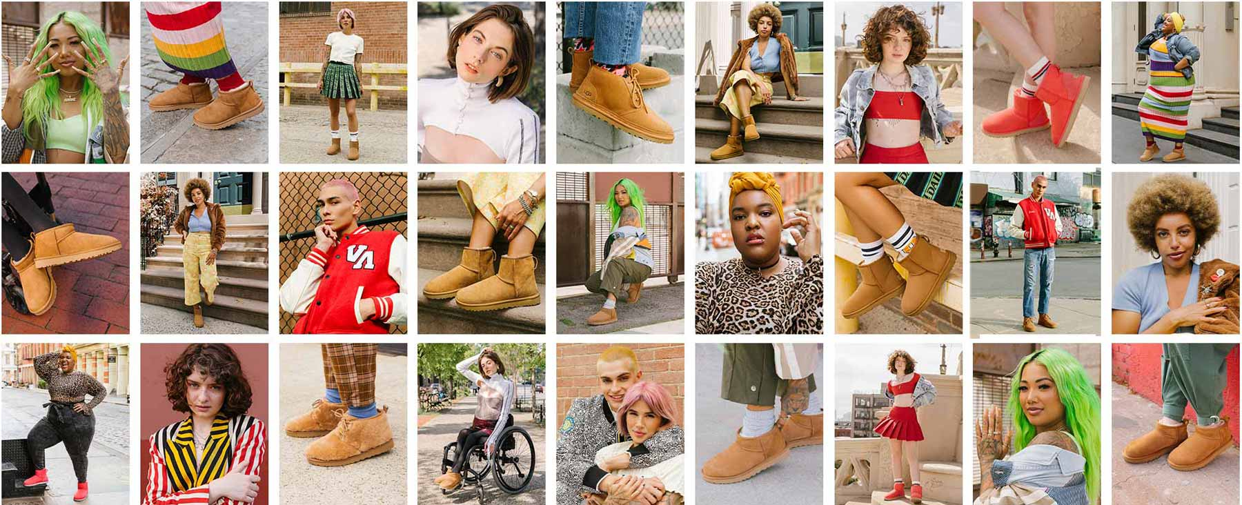 Ugg Feel You image with many people wearing colorful clothes and slippers.