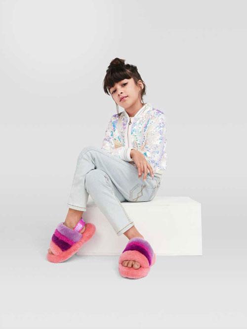 Girl in UGG sandals.