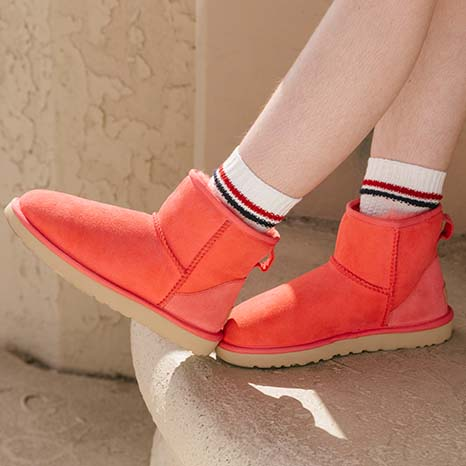 Close up of UGG shoes.