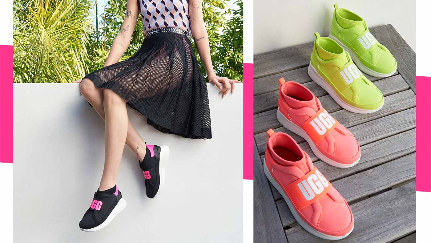 Woman wearing Neon Neon Neutra Sneakers sitting on a wall. Two pairs of Neon Neutra Sneakers in a row.