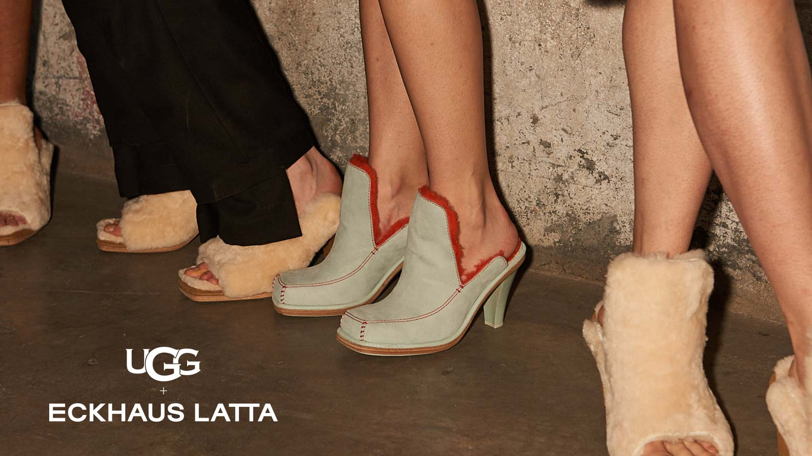 Models wearing Eckhaus Latta and UGG collaboration shoes.