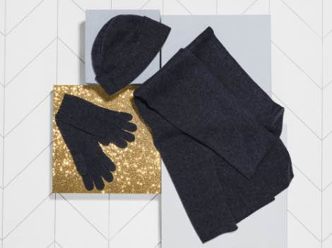 Women's gloves, hat, and scarf.