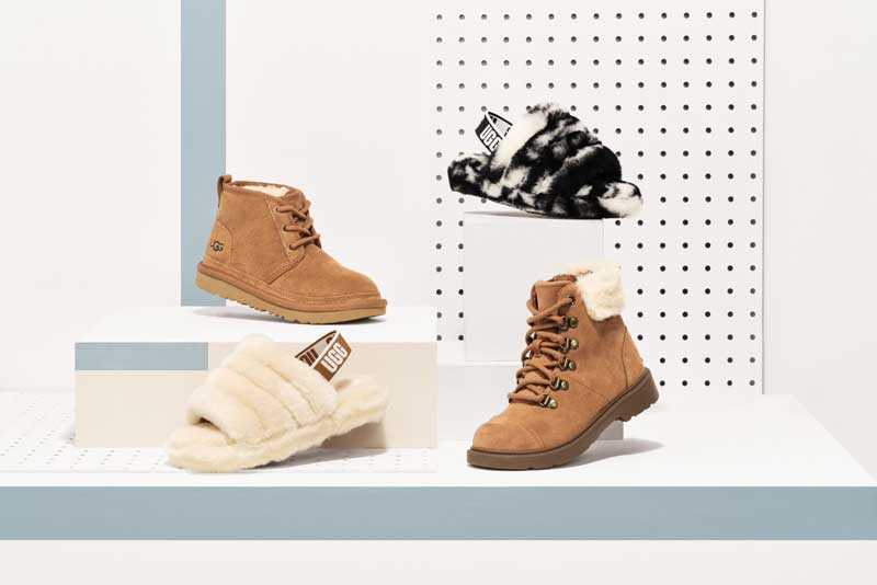 Array of Kids UGG shoes.